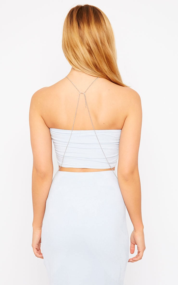 Riley Powder Blue Suede Bandeau Crop Top 2