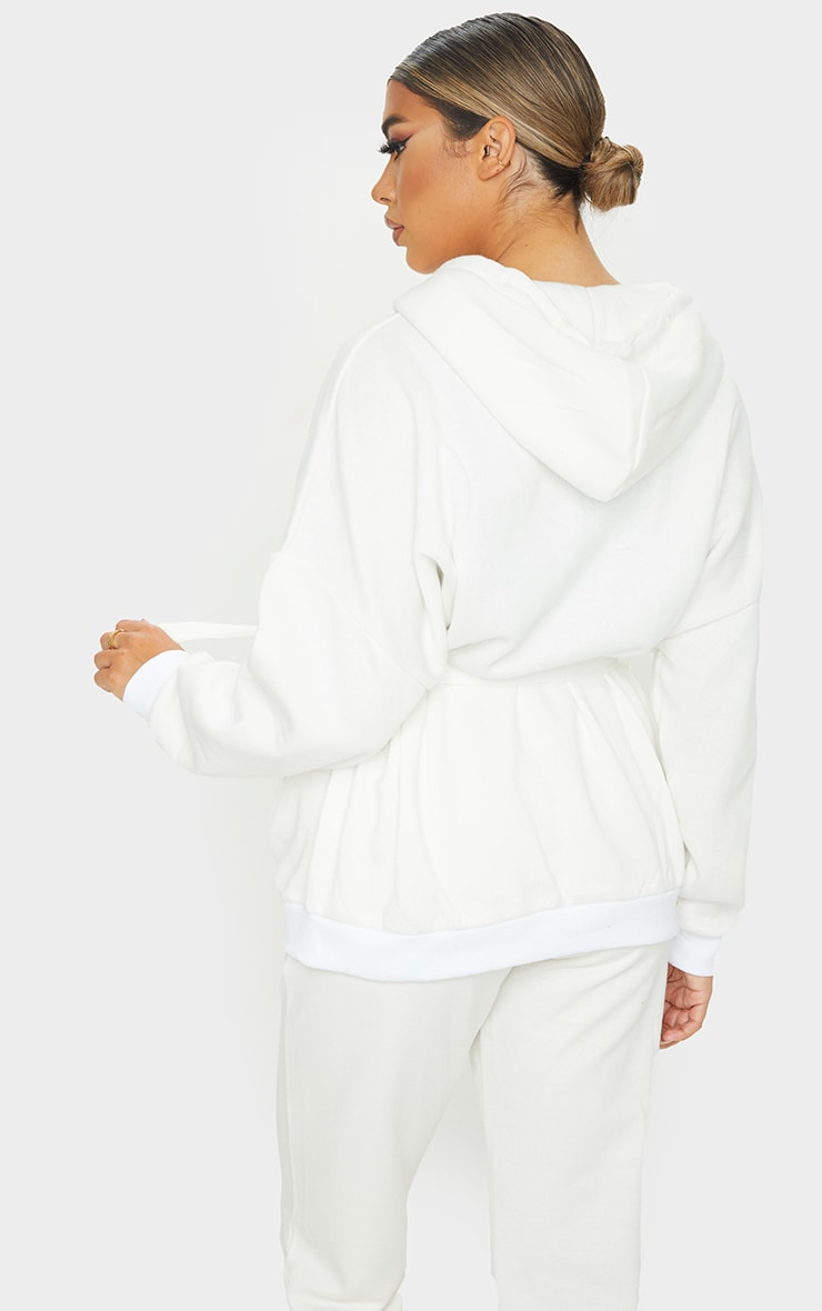 Cream Oversized Longline Zip Belted Hoodie Jacket 3
