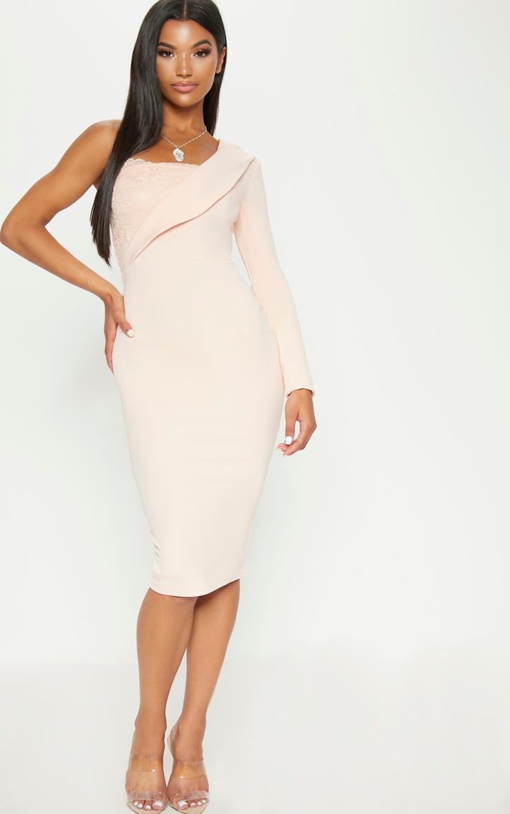 Nude One Shoulder Tux Lace Panel Midi Dress