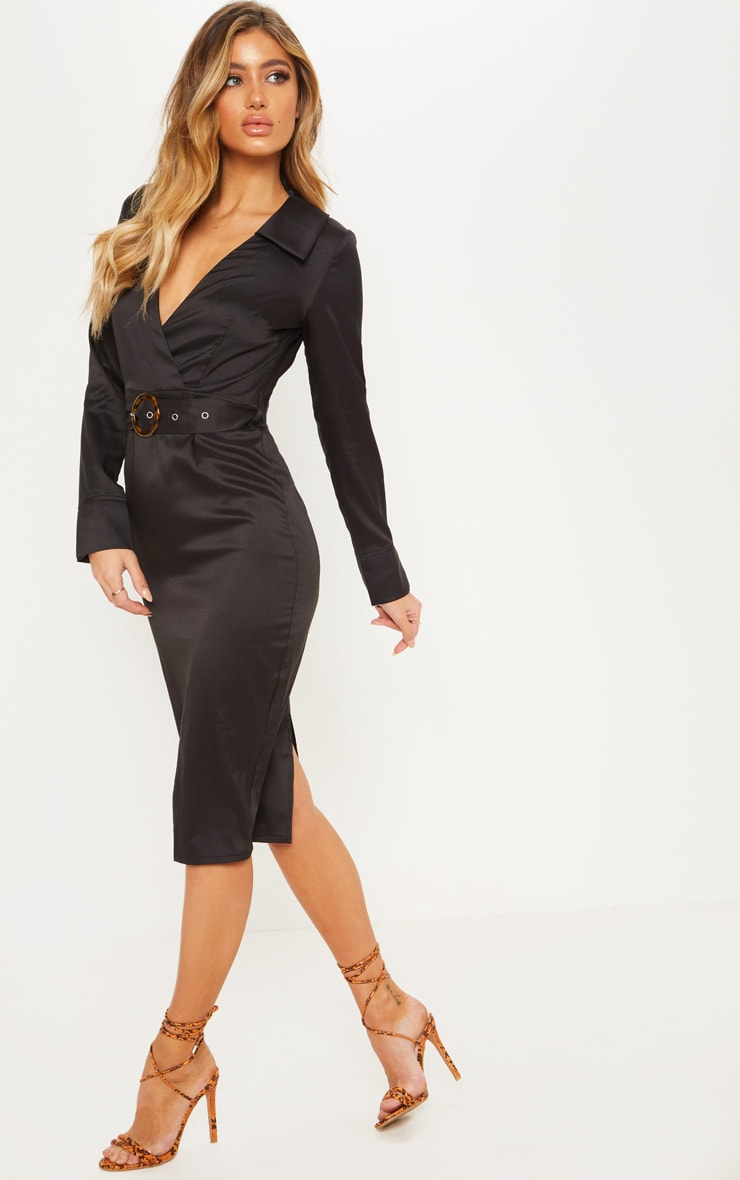 Black Tortoise Shell Buckle Midi Blazer Dress 4