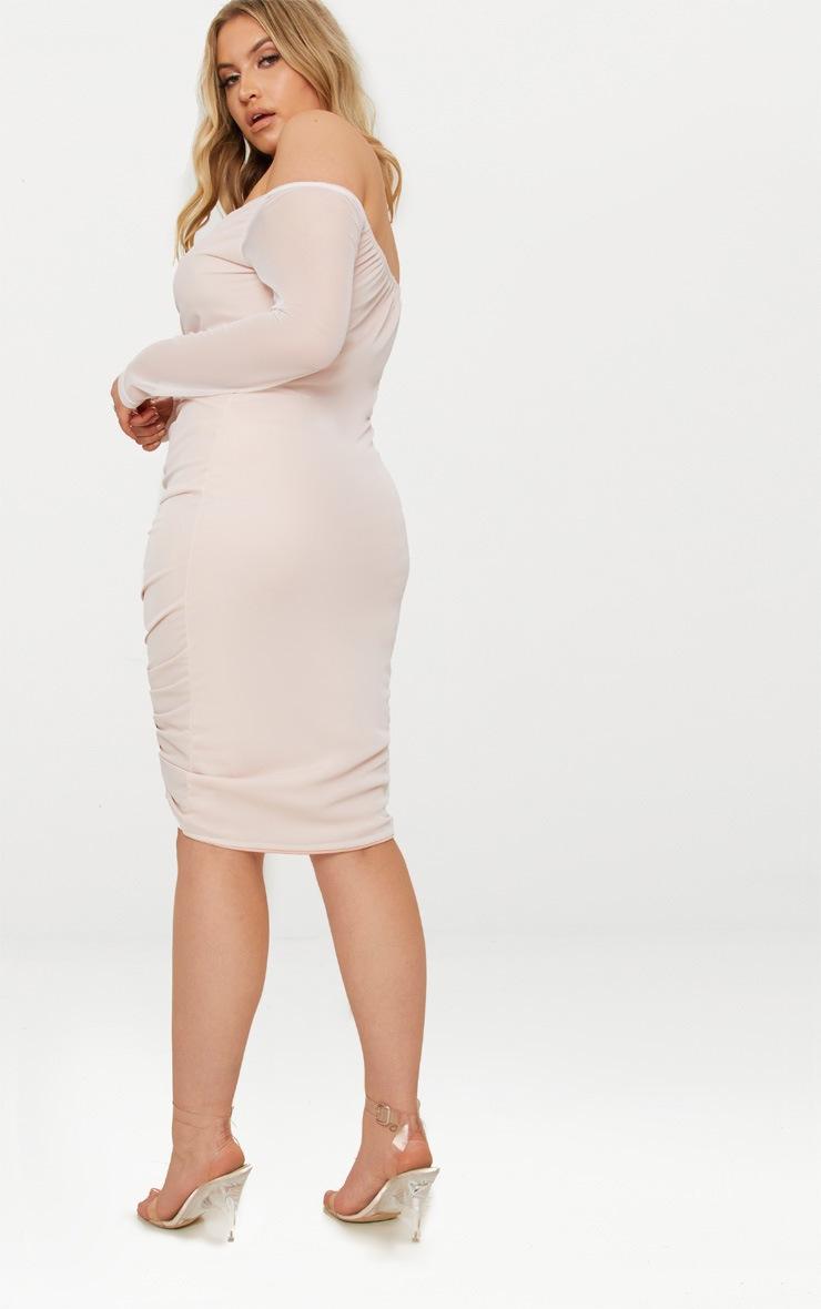 Plus Nude Mesh Ruched Bardot Midi Dress 2