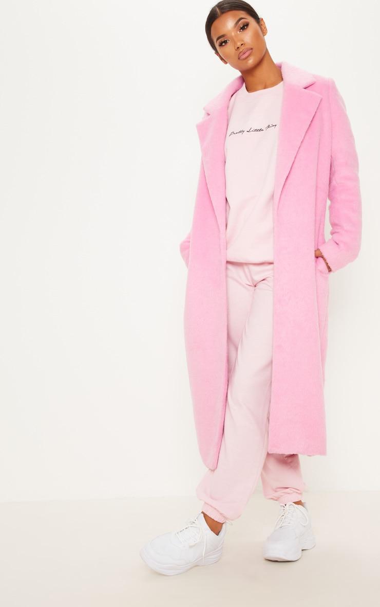 Pink Longline Wool Coat