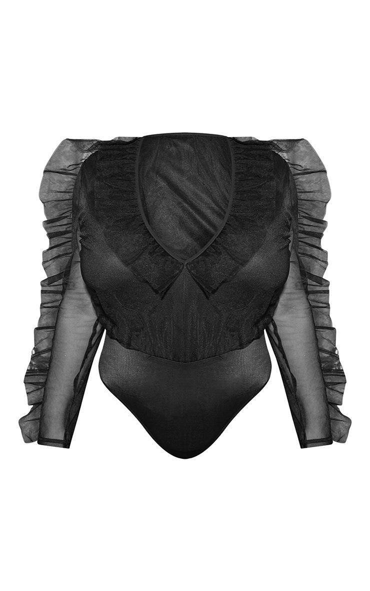 Plus Black Mesh Plunge Front Bodysuit 4