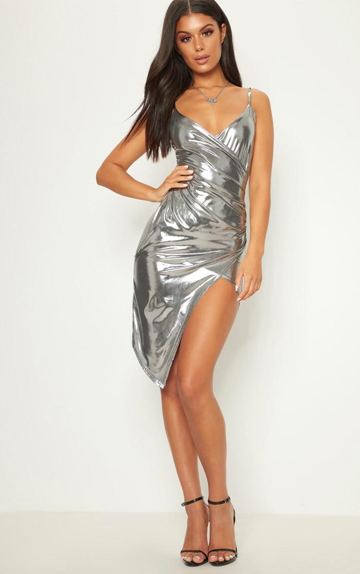 Silver Metallic Wrap Front Midi Dress 4