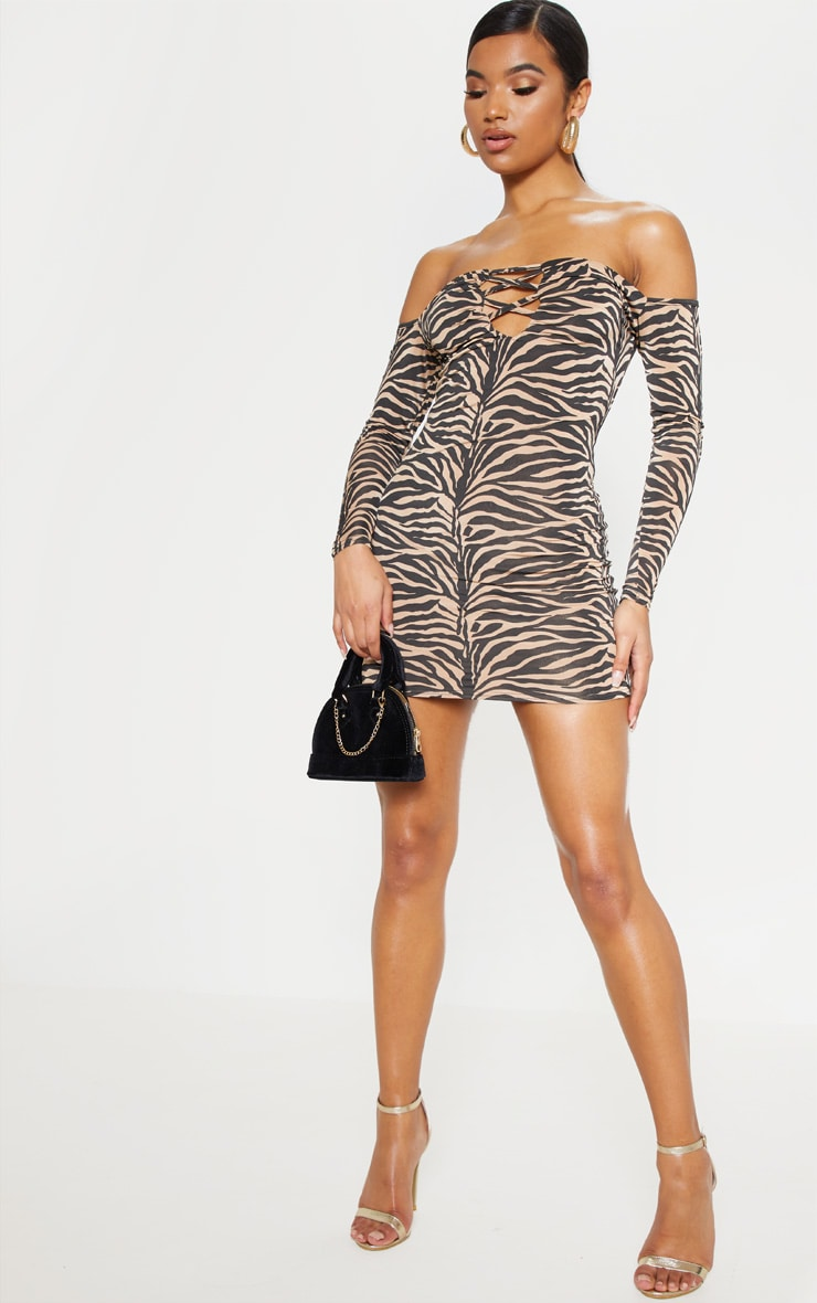 Tan Tiger Print Slinky Lattice Detail Bodycon Dress 1
