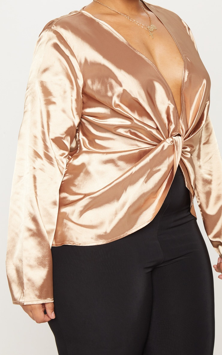 Plus Mocha Satin Twist Front Long Sleeve Blouse 5