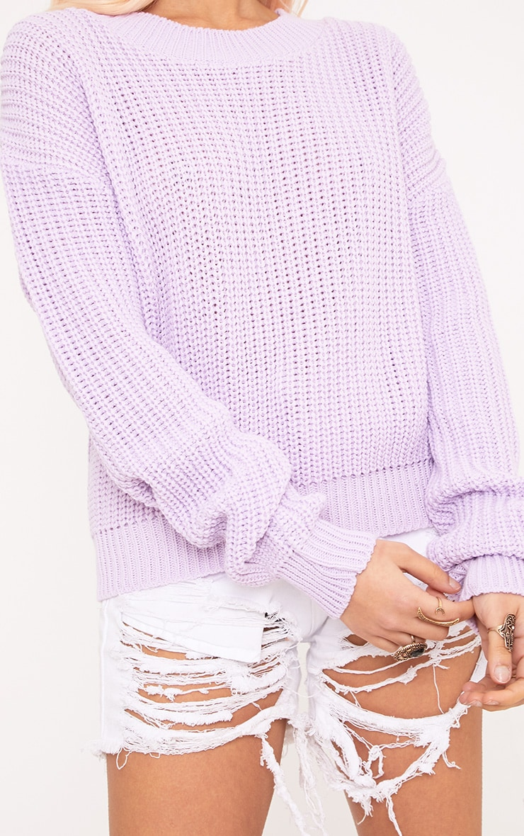 Cara Lilac Cropped Knit Jumper 5