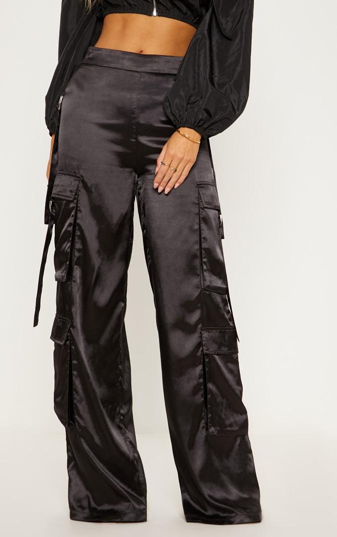 Black Satin D Ring Cargo Wide Leg Trouser 3