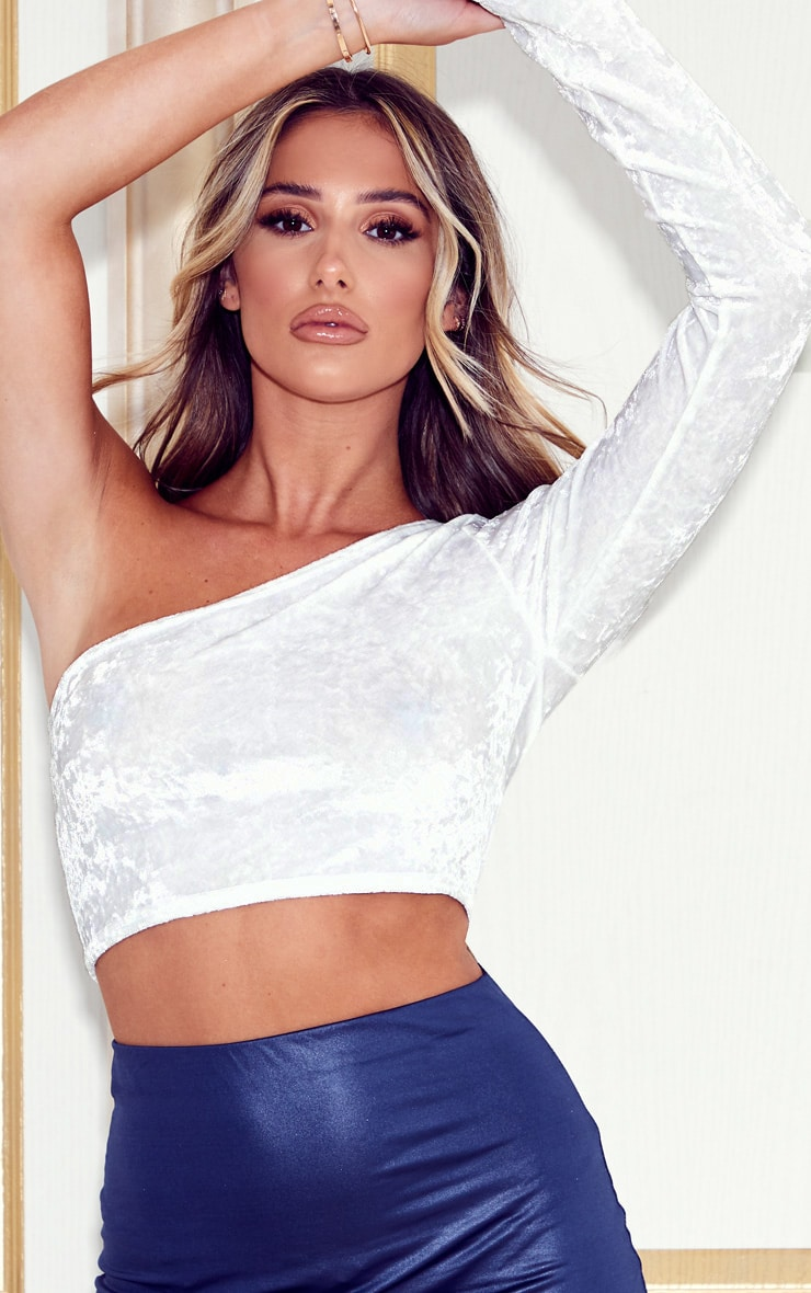 White Velvet One Shoulder Crop Top 5