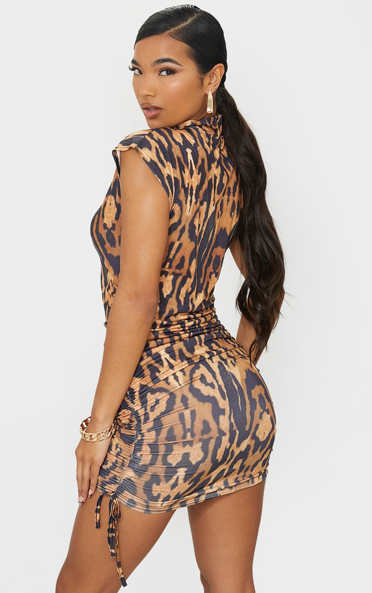Tan Bengal Slinky Sleeveless High Neck Ruched Bodycon Dress 2