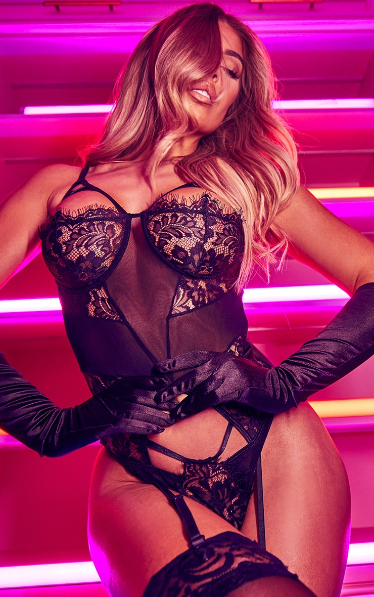 Black Harness Strap Cut Out Lace Body With Suspender Straps 4
