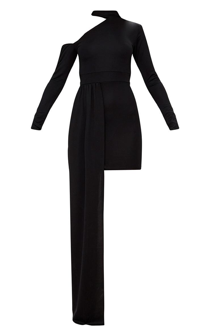 Black One Shoulder Choker Drape Detail Bodycon Dress 3