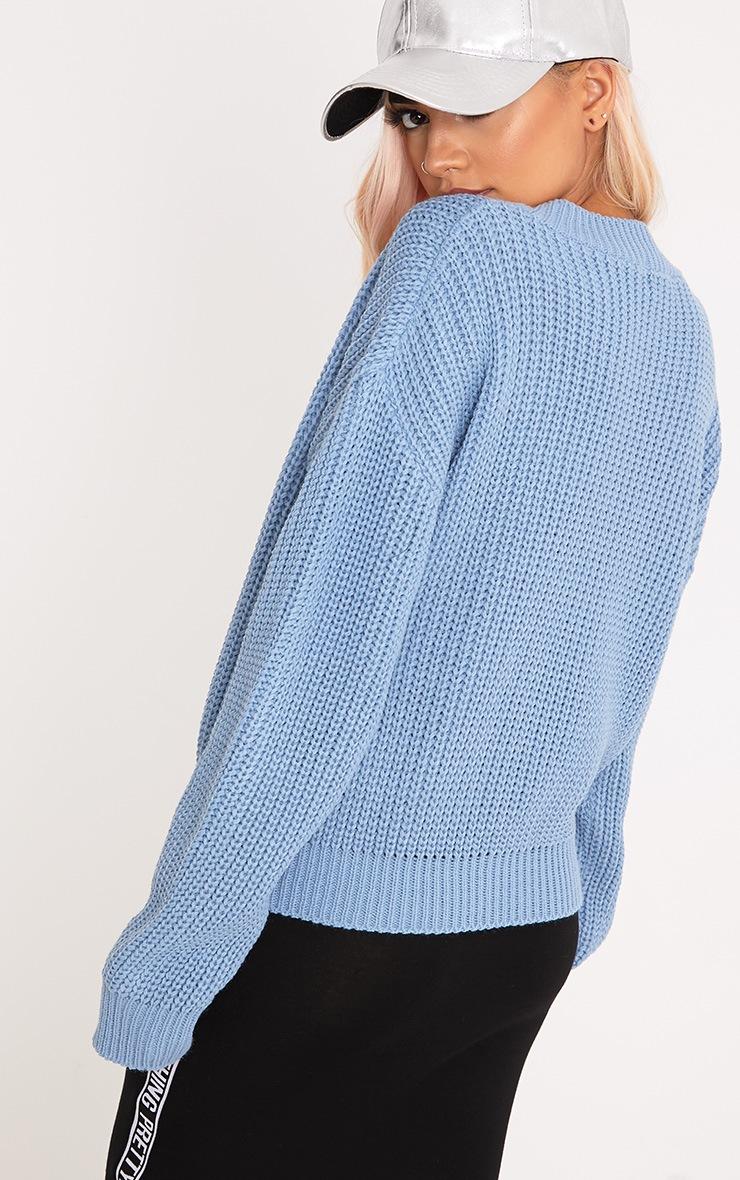 Cara Dusty Blue Cropped Knit Jumper 2