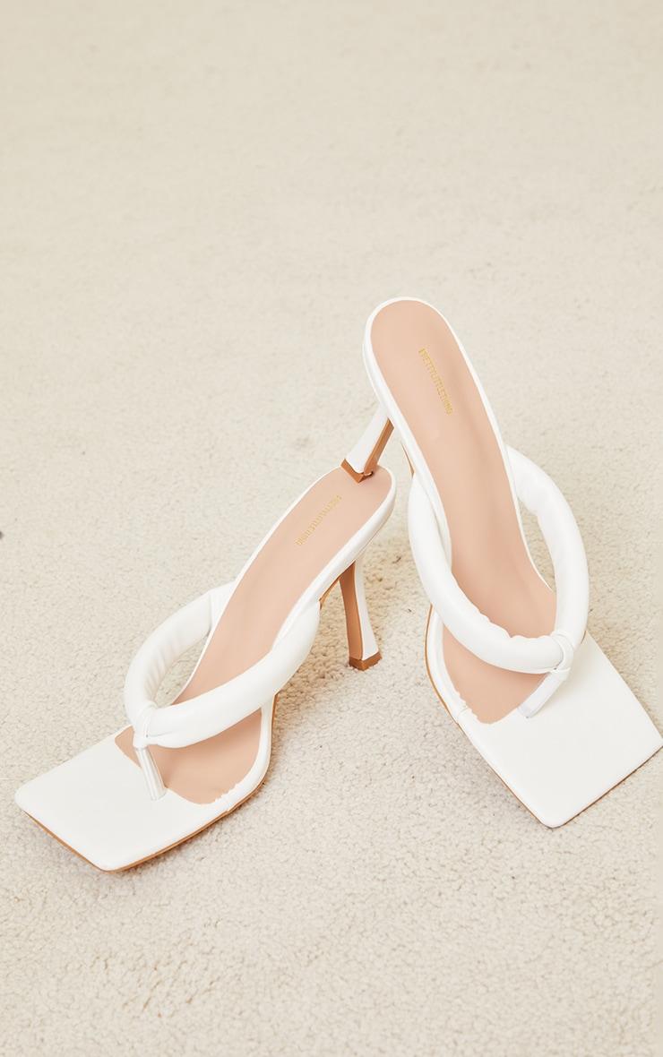 White PU Tube Toe Thong Mid Heel 4
