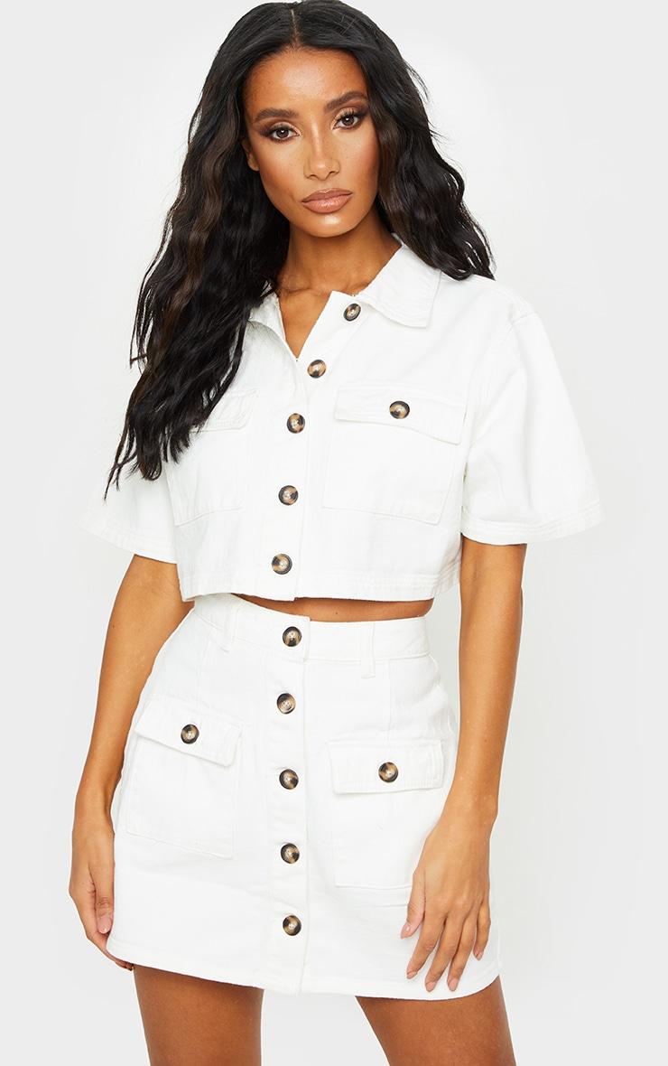 White Button Up Pocket Detail Denim Short Sleeve Shirt 1