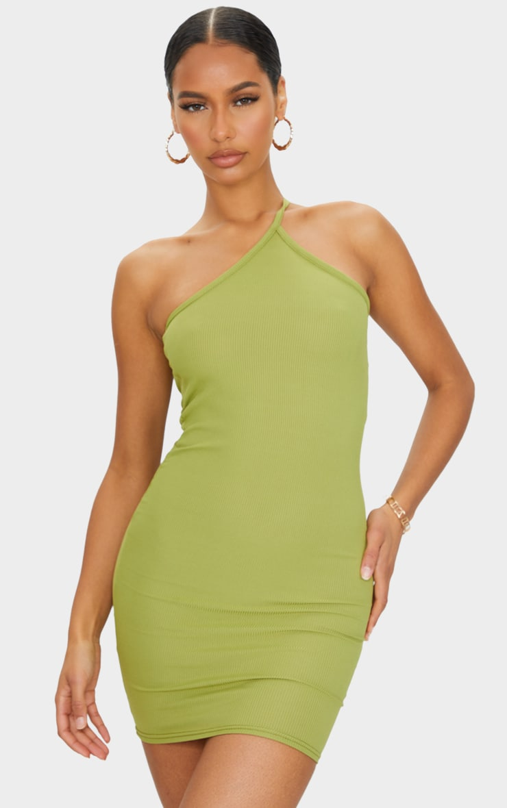 Olive Ribbed One Shoulder Neck Detail Bodycon Dress 1