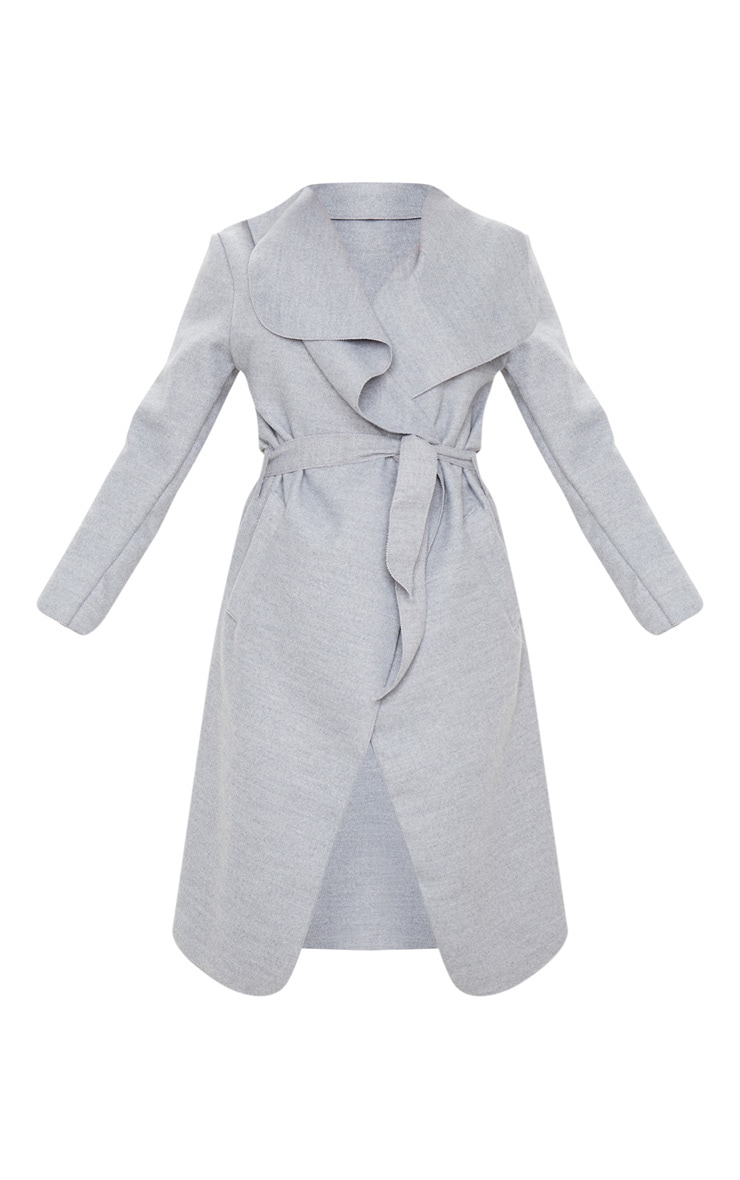 Veronica Silvery Grey Oversized Waterfall Belted Coat 4