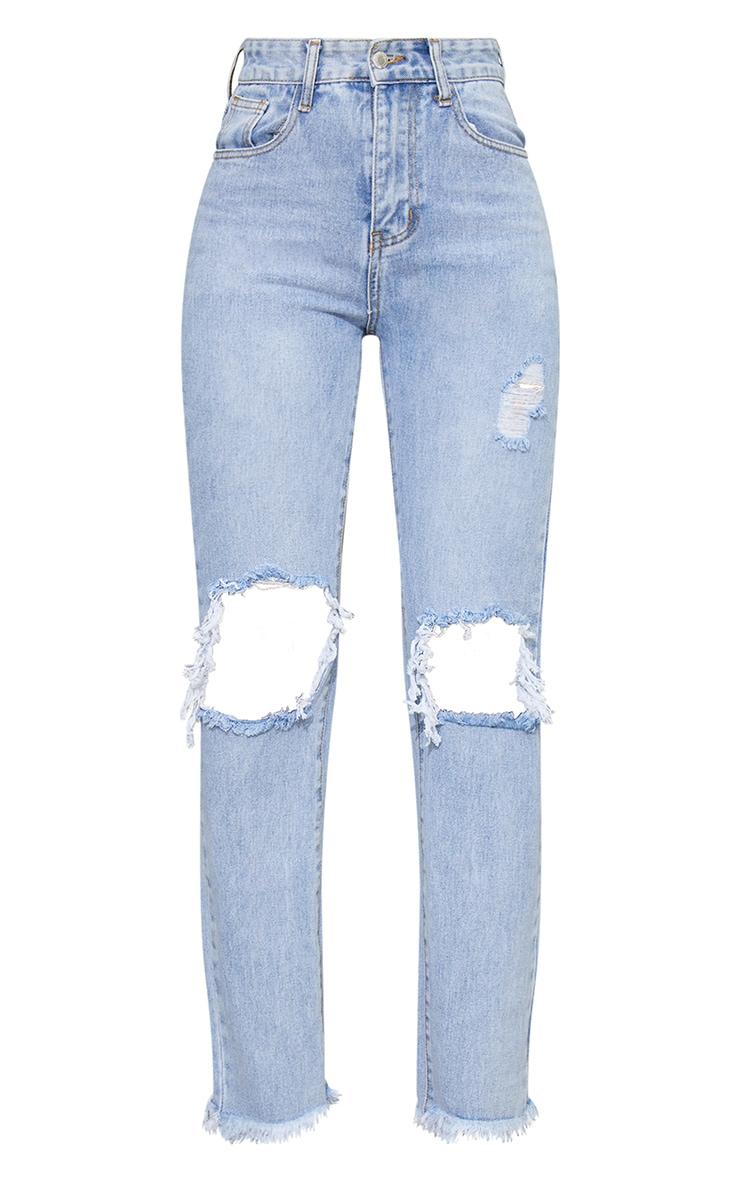 Bleach Wash High Rise Distressed Straight Leg Jeans 5