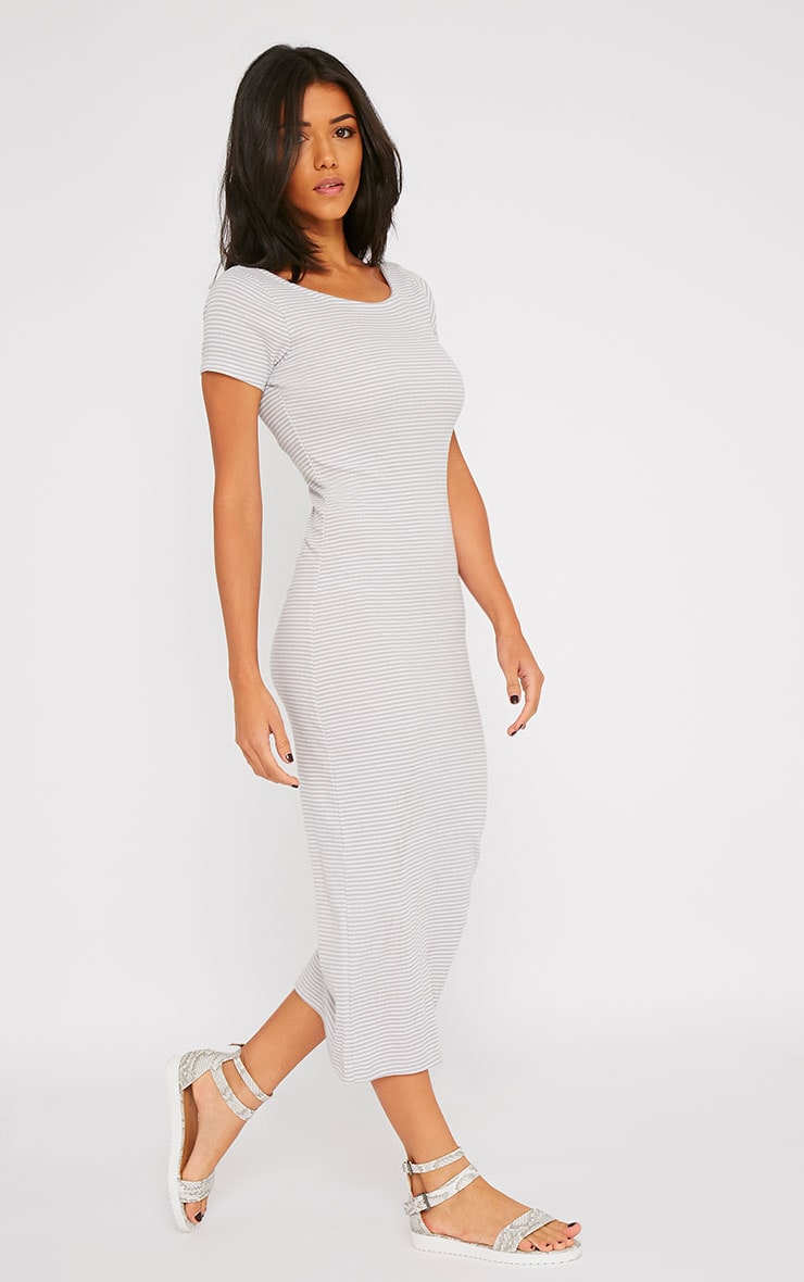 Suzie Grey Ribbed Jersey Stripe Print Maxi Dress 3