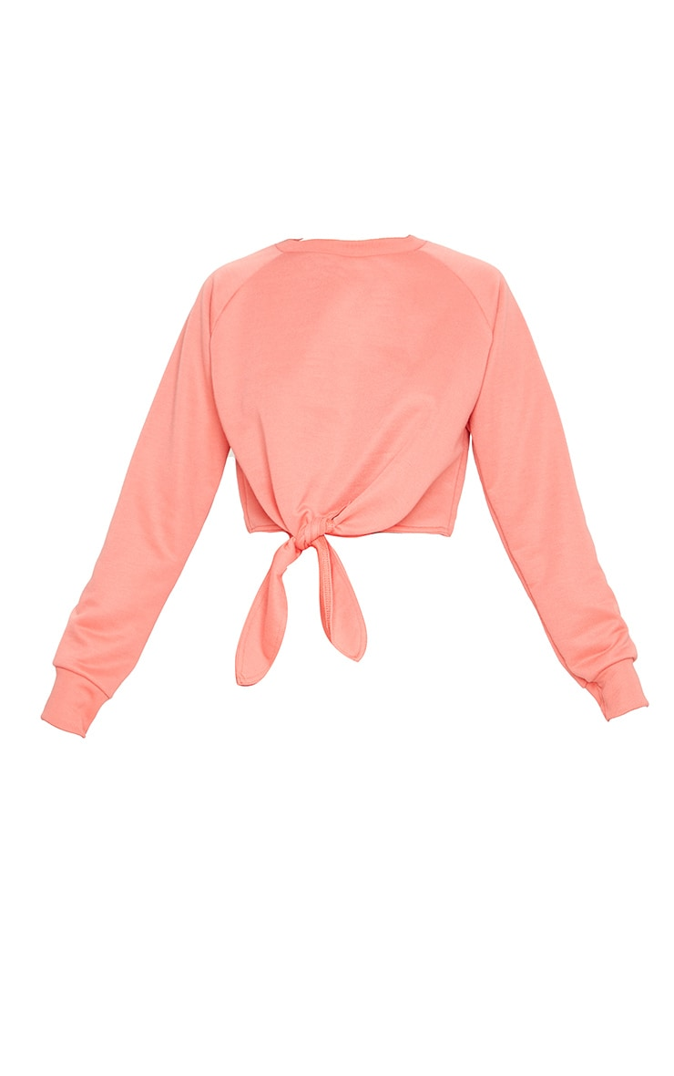 Coral Tie Front Cropped Sweat 3