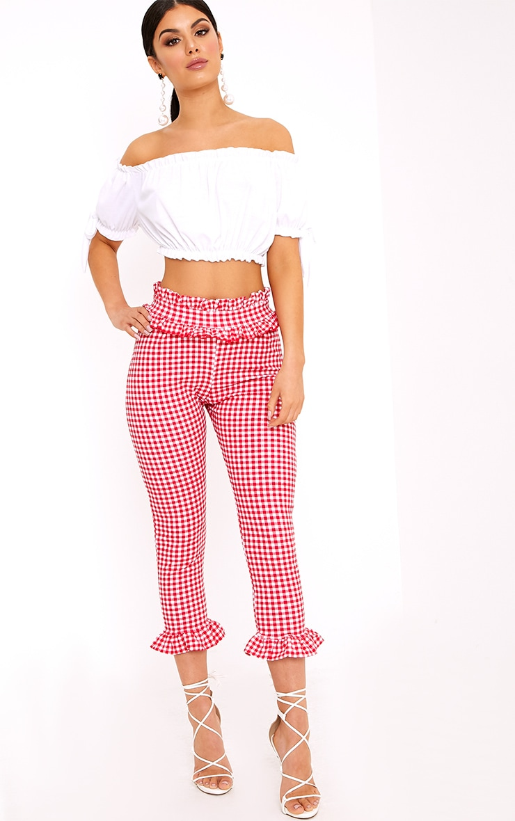 Keren Red Gingham Frill Trim Trousers 1