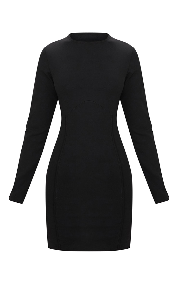 Black Long Sleeve Panelled Bodycon Dress  4