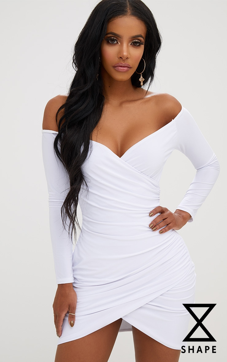 Shape White Ruched Bardot Bodycon Dress 1