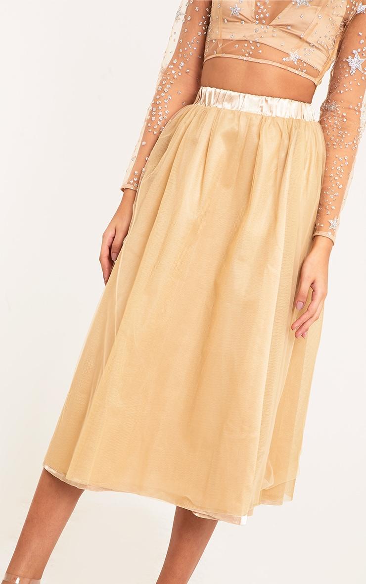 Amalia Champagne Layered Tulle Skirt 5