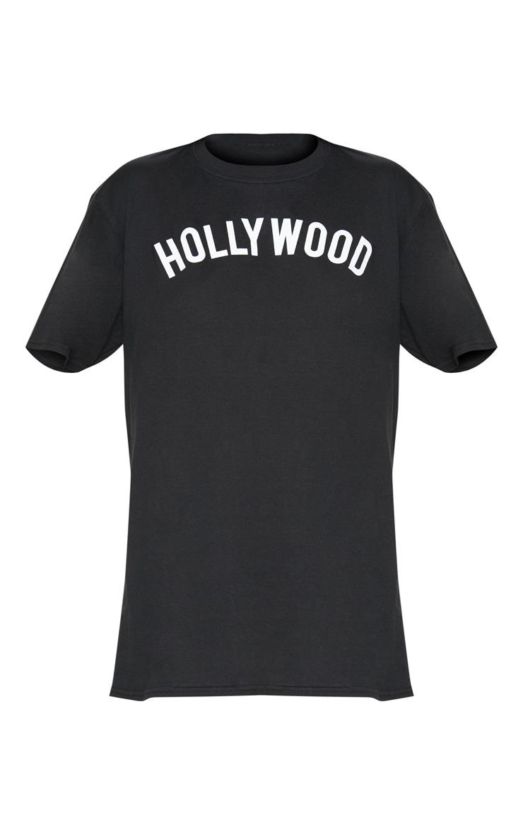 Black Hollywood Slogan Oversized T Shirt  3