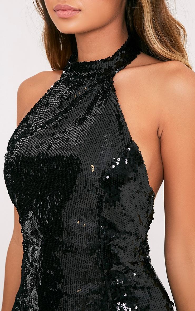 Nickie Black High Neck Sequin Bodycon Dress 6