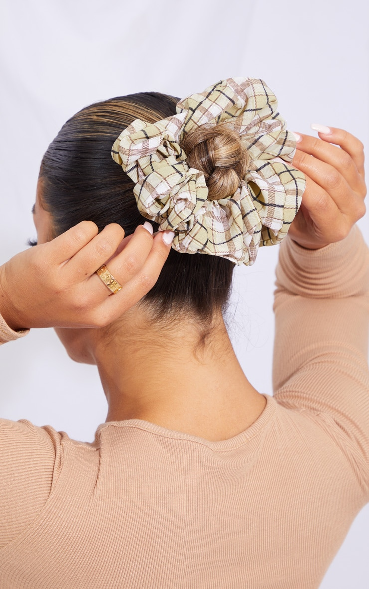 Green Check Scrunchie 2