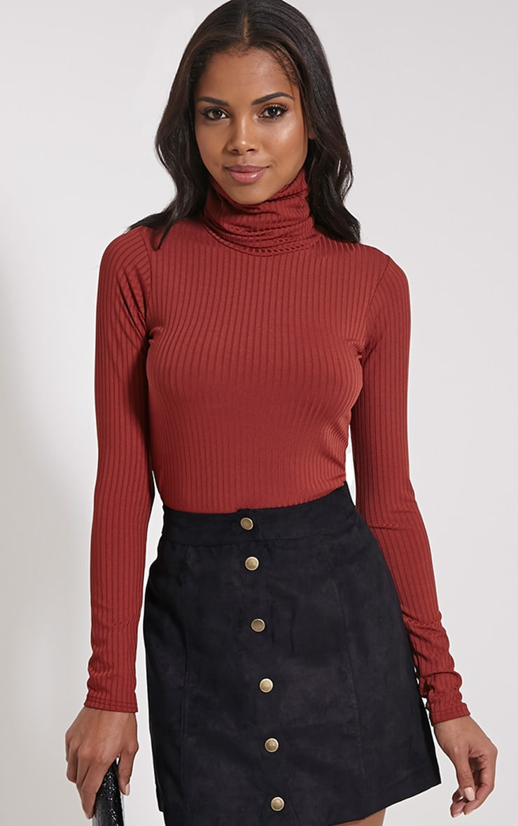 Rheta Rust Ribbed Polo Neck Top 1