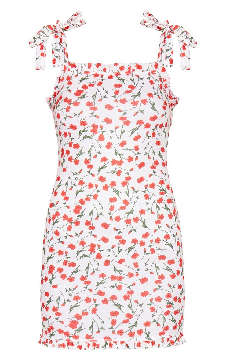 Cream Floral Print Tie Shoulder Frill Detail Shift Dress 5