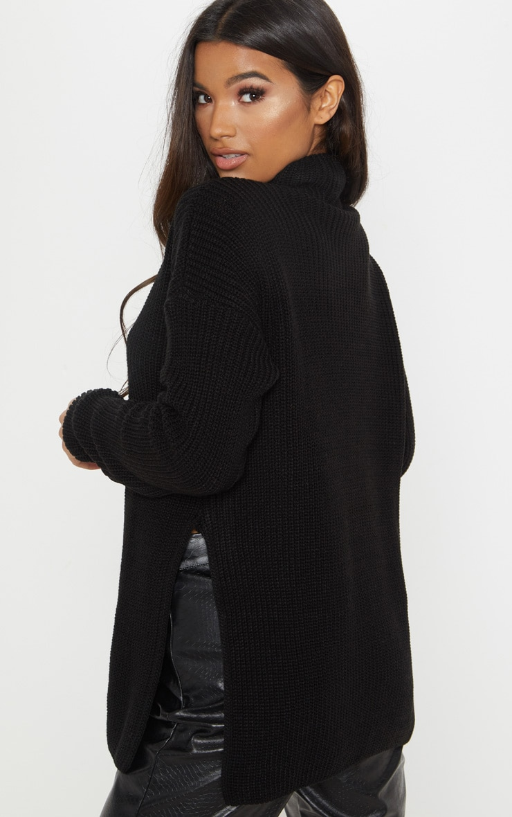 Black High Neck Knitted Side Split Sweater 2