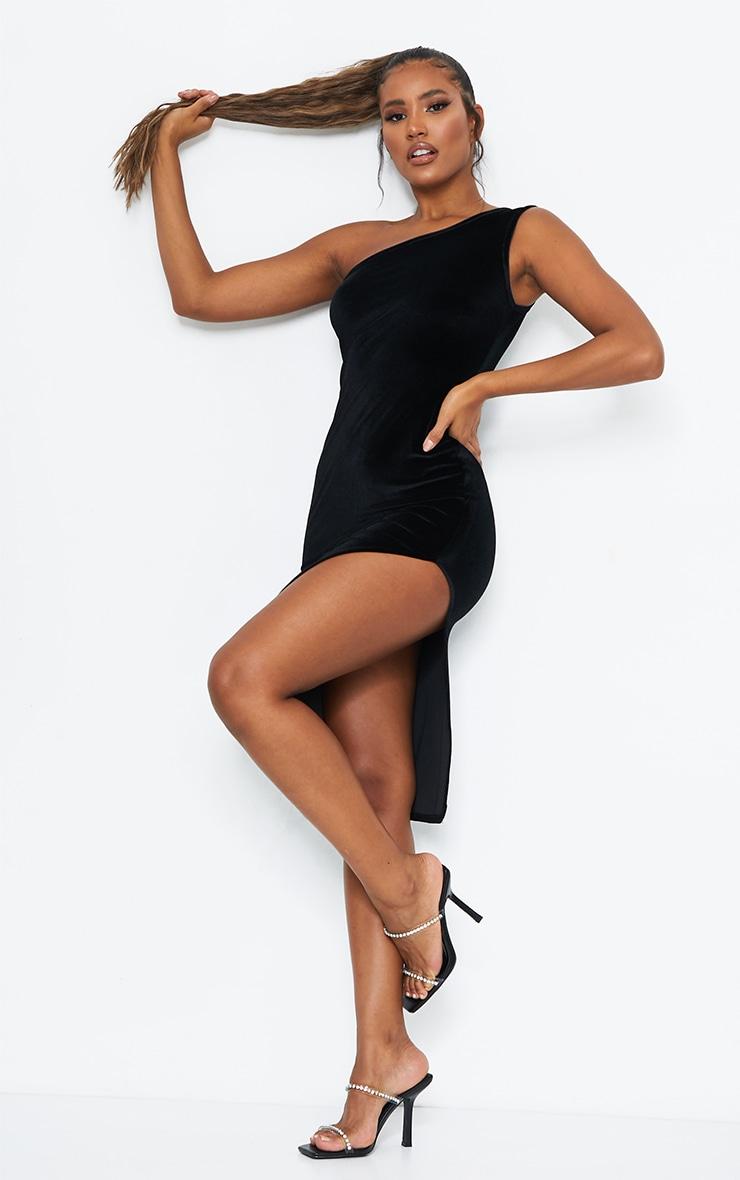 Black Velvet One Shoulder Split Midi Dress 3