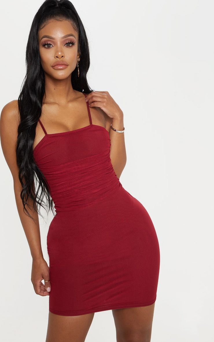 Shape Burgundy Strappy Ruched Mesh Bodycon Dress 1