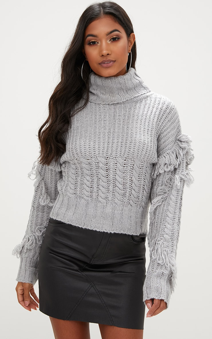 Grey Tassel Cable Knit Jumper 1