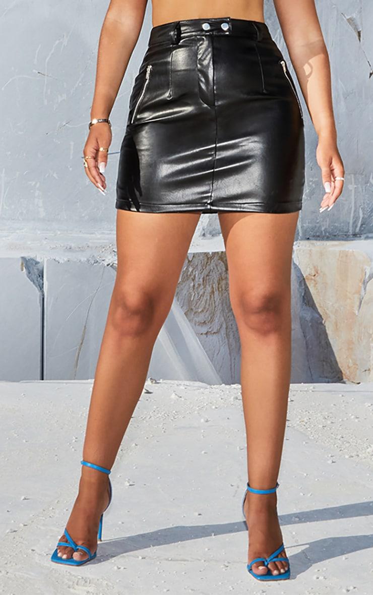 Black PU Bodycon Mini Skirt 2