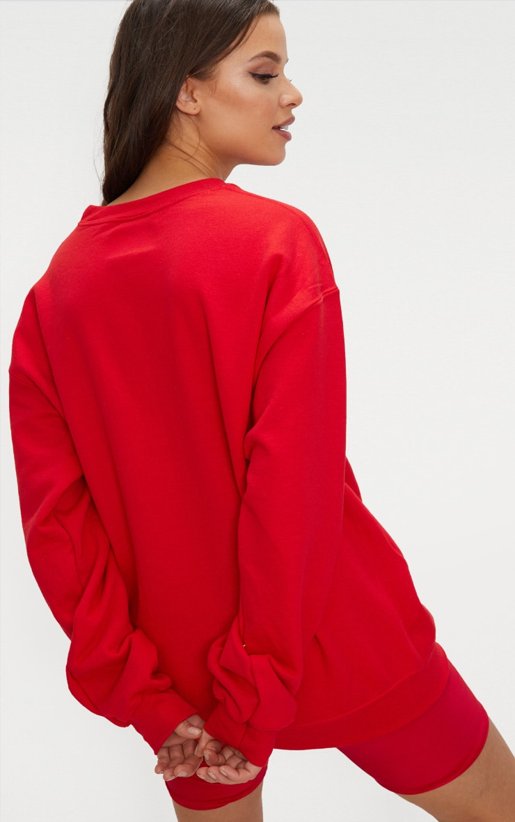 PRETTYLITTLETHING Red Embroidered Oversized Sweater 2