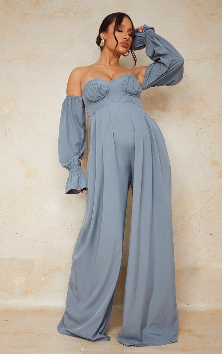 Maternity Blue Corset Detail Bardot Wide Leg Jumpsuit 1