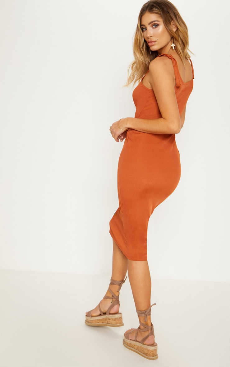 Burnt Orange Ribbed Tie Shoulder Tortoise Shell Button Down Midi Dress 3