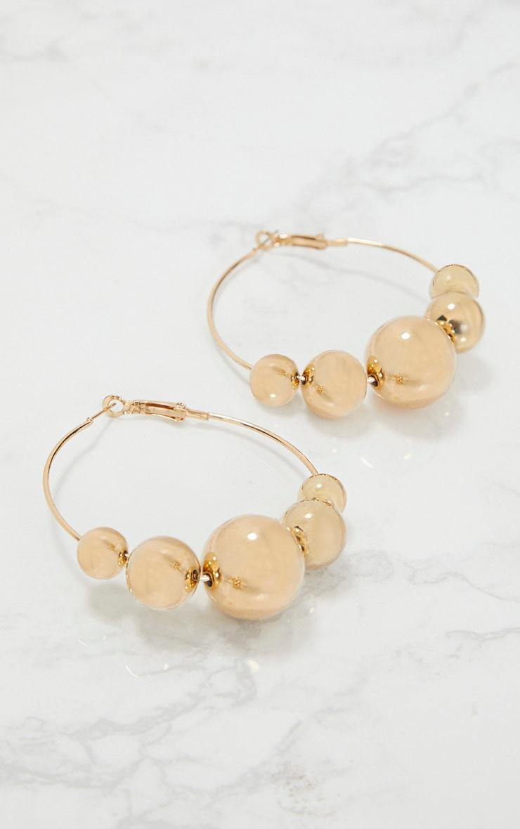 Gold Ball Trim Hoop Earrings 3