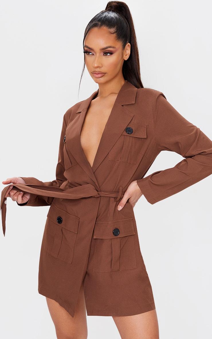 Chocolate Utility Style Tie Waist Blazer Dress 1