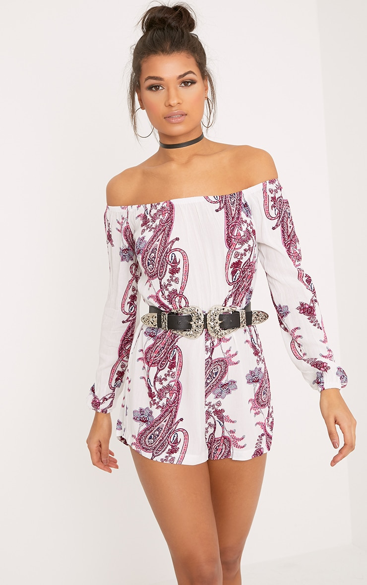 Pink Paisley Print Bardot Playsuit Jumpers