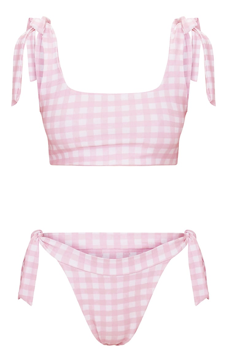 Baby Pink Gingham Tie Side Bikini Bottom 6