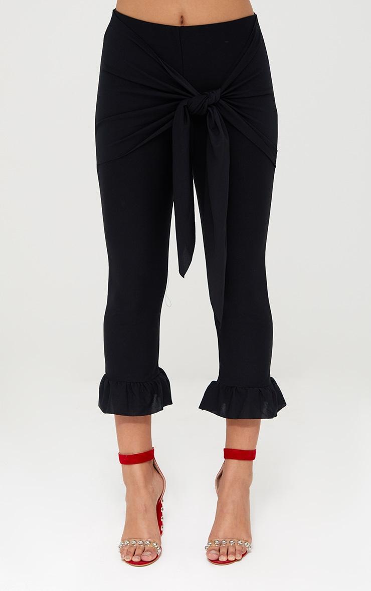Black Tie Waist Frill Hem Trousers 2