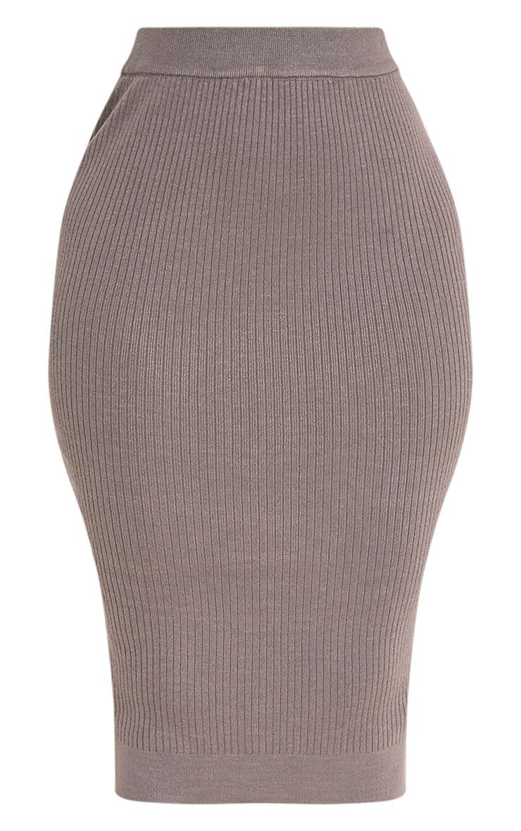 Taegan Olive Ribbed Knitted Midi Skirt 3