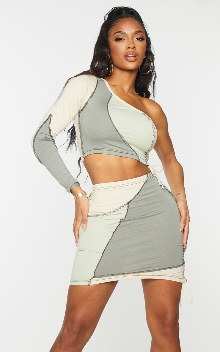 Shape Sage Green Cotton Panel Detail Ruched Side Bodycon Skirt 4
