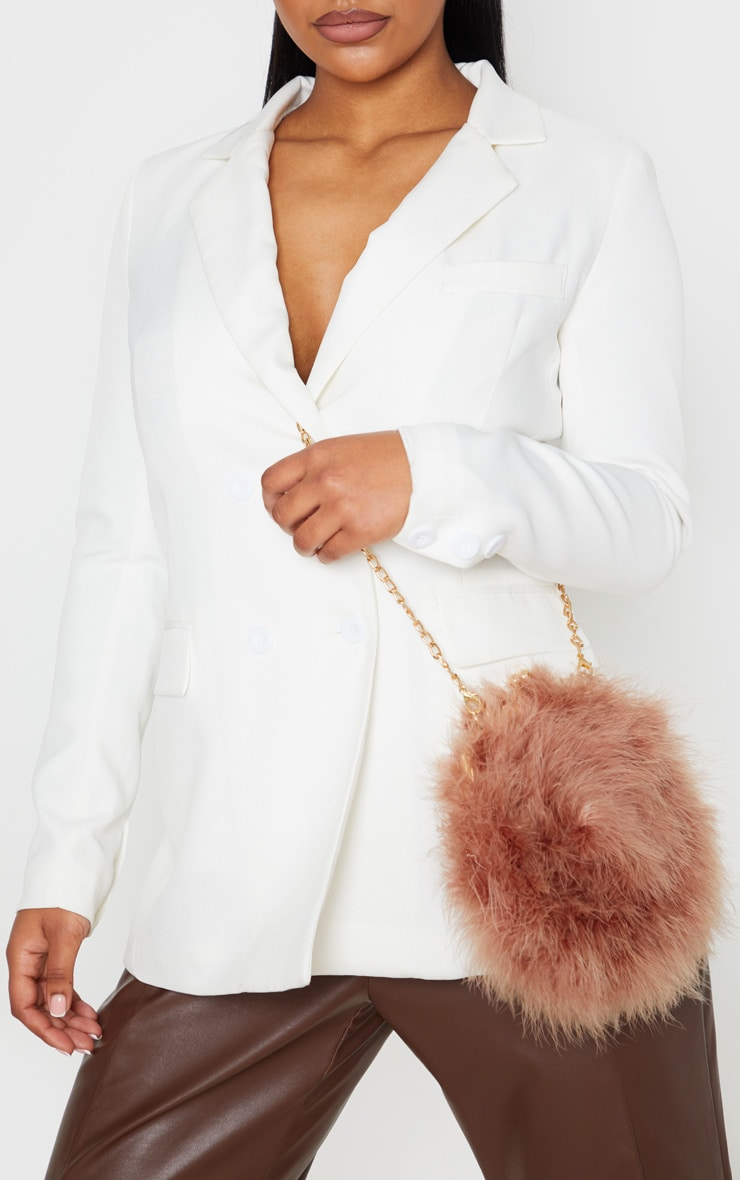 Chestnut Marabou Feather Cross Body Bag 1