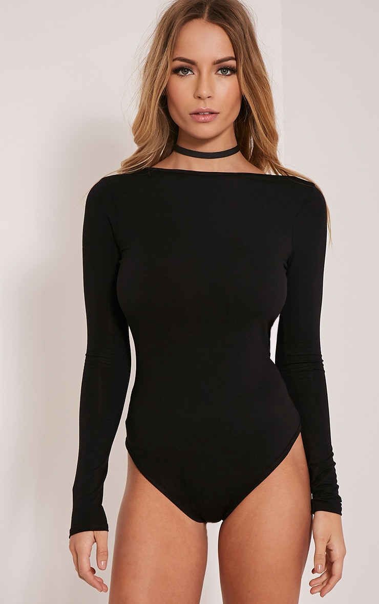 Debra body noir en jersey dos en V 5